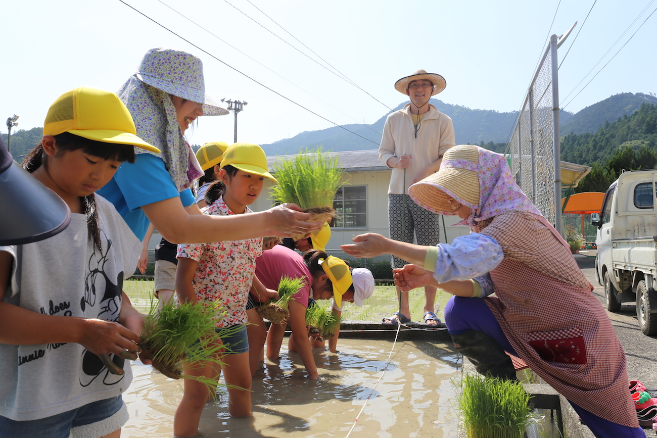 神領小学校の食育の「柱」となっているもち米づくり